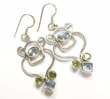 BLUE TOPAZ PERIDOT 925 STERLING SILVER EARRINGS STAMPED PRINCESS OVAL ROUND CUT