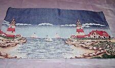 "NEW Nautical LIGHTHOUSE Tapestry VALANCE CURTAIN 52"" X 14 1/2"" Sailboat Coastal"