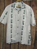 Royal Creations Hawaiian Shirt Mens XL White Green Turtles Palm Trees Cotton