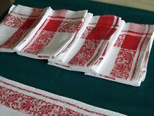 5 serviettes de table, rouge et blanche, mono P L ou J L, anciennes