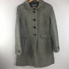 Ann Taylor Wool Coat 6 Houndstooth Blend 3 Button Lined Black White
