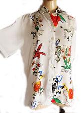 UNIQUE VINTAGE White/ irregular floral pattern Ladies blouse, UK size 10 VISCOSE