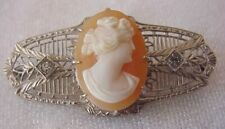 VINTAGE OR ANTIQUE CAMEO BROOCH SIGNED SILVER FILIGREE VICTORIAN STYLE