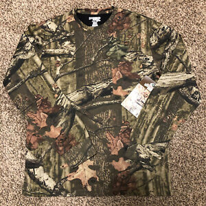 Mossy Oak Mens Long Sleeve Shirt Top Break-Up Infinity Camouflage front pocket