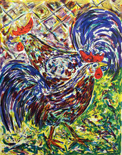 "Amos Yaskil ""Roosters"" Signed Numbered Fine Artwork Lithograph by Israeli Artist"