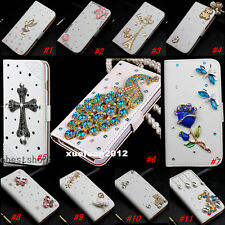 Magnetic Bling Luxury Diamonds Crystal Leather wallet flip phone Cover Case #F12