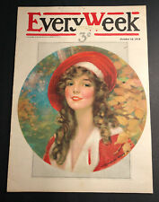 Oct 1916 Every Week Magazine Cover ONLY Pretty Girl Knowles Hare Rare