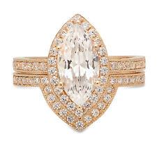 Ring Band set 14k Yellow Gold 2.16ct Mq Round Halo Moissanite Promise Bridal