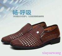 Mens Hollow Out Breathable Dress Formal Shoes Weave Slip On Loafers Sandals Chic