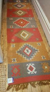 100% Wool Kilim Tribal rug 60x245cm Quality Hand Made runner Rose, Brown, Grey