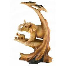 """Elephants Faux Carved Wood Look Figurine Resin 8.75"""" High New In Box!"""
