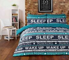 Retro Text Teal & Blue Quilt Cover Boys Girls Bedding Set ~ ALL SIZES FREE P&P !