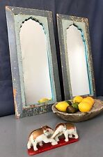 ANTIQUE/VINTAGE INDIAN. LARGE PAIR of MUGHAL TEMPLE MIRRORS. PALE TEAL AND GREY.