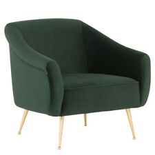 """31.5"""" W Occasional Chair Padded Velour Seat Gold Stainless Steel Legs Modern"""