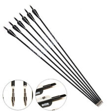 "6Pcs 30"" Carbon Arrows Spine 500 Screw Tips Archery Recurve Compound Bow Hunting"