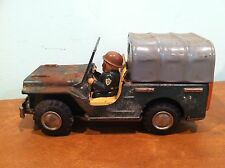 Vintage Tin Friction Toy Army Military Willys Jeep with Driver