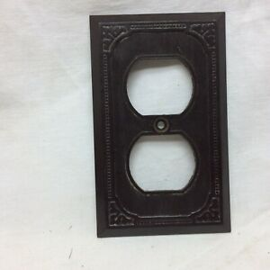 Vintage Brown Outlet Cover Plate Made in USA Hardware