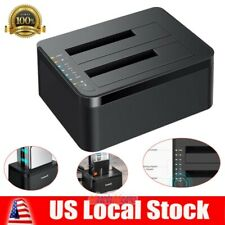 "USB 3.0 HDD Docking Station Dual Bay Offline Clone 2.5""/3.5"" Hard Drive+Adapter"
