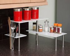 White Corner Shelf Shelving Unit Storage - Kitchen Worktop Office Desk Bathrooom