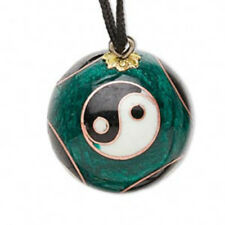 Black Green and Gold Cloisonne Yin Yang Chime Pendant Necklace