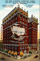 Vtg 1930's Hotel Mayflower Building in Jacksonville Florida FL Postcard