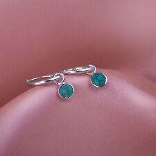 Sleeper hoops/Open hoops stud earrings with 5mm faceted Turquoise charm