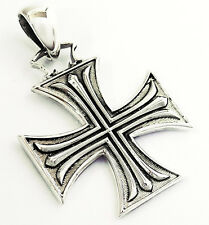 MEDIEVAL KNIGHT TEMPLAR IRON CROSS STERLING 925 SILVER PENDANT MEN'S JEWELRY NEW