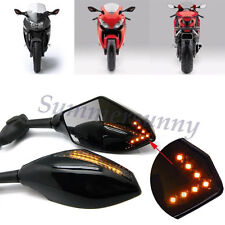 UNIVERSAL MOTORCYCLE LED INTEGRATED ARROW TURN SIGNAL LIGHT REARVIEW SIDE MIRROR