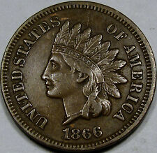 1866/6 S-2 RPD Indian Head Cent Choice AU-BN... So Nice & Original, SCARCE VAR.!