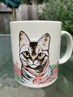 HOME IS WHERE THE CAT IS Vintage Otagiri Cat in Flowers Coffee Mug Cup KITTY
