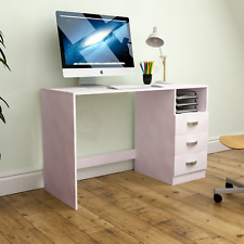 Filey Computer Desk 3 Drawer 1 Shelf Latop PC Table Home Office Study Off-White