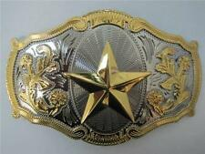 NEW BIG WESTERN OVAL STAR TEXAS GOLD AND SILVER RODEO COWBOY HORN BELT BUCKLE