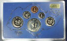 1977 Singapore 6 Coin Proof Set with Original Case & Box #2131/3500 Some Haze