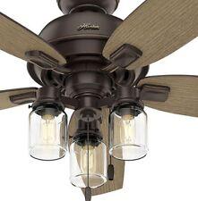 Weathered Rustic Farmhouse Mason Jar Exposed Bulbs Large 54 LED Ceiling Fan Onyx