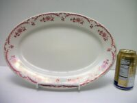 """Vtg Shenango Chardon Rose Oval PLATTER Restaurant Ware LARGE 14 1/2"""" Red & White"""