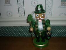 "Kurt Adler-8"" Hollywood Wood Green Sequin Irish Nutcracker-New In Box"