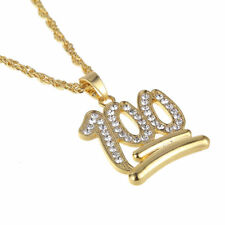 1PC Unisex Gold Tone 100 Iced Out Pendant Hip Hop Long Sweater Chain Necklace