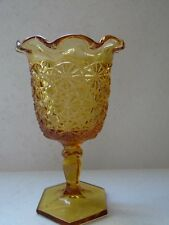 Vintage Amber Daisy Button Glass Ruffle Top Goblet Vase 6 1/2 Inches Tall