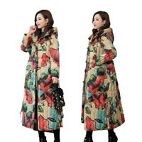 Retro Womens Down Cotton Winter Long Overcoat Chinese Style Hooded Button Coat L
