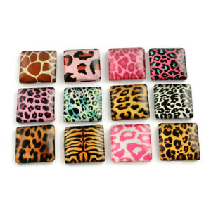 20 Small Domed Glass Cabochons - Random Animal Prints -  10mm Square 20 Pieces