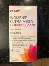 GNC Womens Ultra Mega Diabetic Support - 90 Caplets Multivitamin - Exp 2/2019