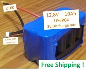 10Ah 12.8V  LiFePO4 Battery Pack  XT60  BMS wires   **Free Shipping