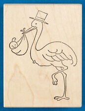 Stork Bringing New Baby Rubber Stamp by Stampa Rosa - Newborn, Baby Announcement