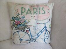 French Provincial Paris Blue Bicycle Cotton Blend 43 cm Cushion Cover FREEPOST