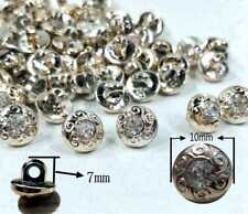 10 X 10MM GOLD BACK RHINESTONE CRYSTAL INSET ROUND SEW ON SHANK BUTTONS