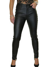 Womens High Waisted Stretch Leather Look Tight Jeans High Rise Black NEW Size 18