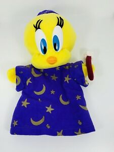 1997 Looney Tunes Tweety Bird Hand Puppet Wizard Plush