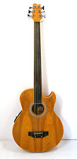 Fretless 6 String Electric Cutaway Acoustic Bass  Light-Brown  (finish blemish)