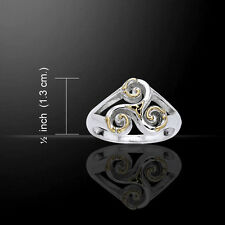 Silver Celtic Celtic Triskele Silver & Gold Ring MRI660 Size 9
