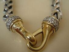 $4200 DAVID YURMAN 18K GOLD SS DIAMOND WHEAT CHAIN NECKLACE.